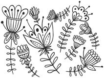 Zentangle flowers line art Stock Photos