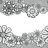 Zentangle Frame with flower in doodle. Hand Drawn Royalty Free Stock Photography