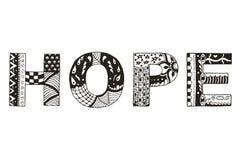 Сформулируйте zentangle стилизованное, вектор надежды, иллюстрацию, freehand ручку Стоковая Фотография RF