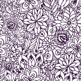 Zentangle färgläggningsida Sömlös modell för klotter i vektor Idérik blom- bakgrund för din design, inpackningspapper Fotografering för Bildbyråer