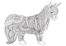 Zentangle-geïnspireerd ontwerp van gelukkig weinig poney voor volwassen kleurende boekpagina's vector illustratie