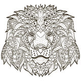 Zentangle gestileerd beeldverhaalhoofd van een leeuw Royalty-vrije Stock Foto's