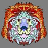 Zentangle gestileerd beeldverhaalhoofd van een leeuw Royalty-vrije Stock Fotografie
