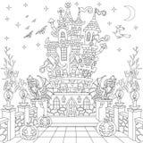 Zentangle gestileerd Halloween-kasteel vector illustratie