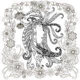 Zentangle gestileerd hand getrokken portretmeisje met ontzetting in bloemenkader royalty-vrije illustratie