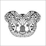 Zentangle gestileerd koalahoofd Stock Foto
