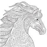 Zentangle gestileerd paard stock illustratie