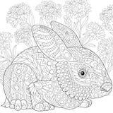 Zentangle gestileerd Pasen-konijntje stock illustratie