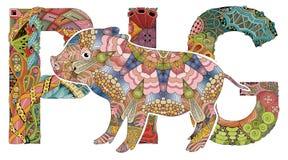 Zentangle gestileerd varken Hand getrokken decoratieve vectorillustratie stock illustratie