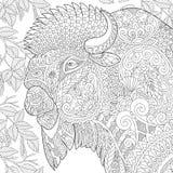 Zentangle gestileerde bizon royalty-vrije illustratie