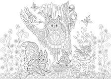 Zentangle gestileerde bosdieren vector illustratie