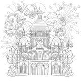 Zentangle gestileerde de kathedraal vectorkrabbel van Parijs stock illustratie