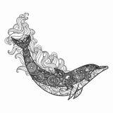 Zentangle gestileerde dholpin illustratie Hand Getrokken krabbelillustratie die op witte achtergrond wordt geïsoleerd Stock Foto's