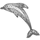 Zentangle gestileerde dolfijn volwassen antispannings Kleurende Pagina Stock Foto