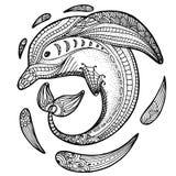 Zentangle gestileerde dolfijn volwassen antispannings Kleurende Pagina Stock Afbeeldingen