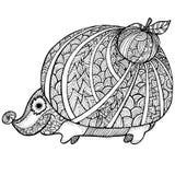 Zentangle gestileerde egel volwassen antispannings Kleurende Pagina Stock Fotografie