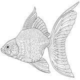 Zentangle gestileerde goudvis stock illustratie