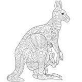 Zentangle gestileerde kangoeroe stock illustratie