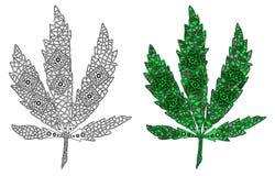 Zentangle gestileerde kleur en zwarte het blad van cannabis Royalty-vrije Stock Foto