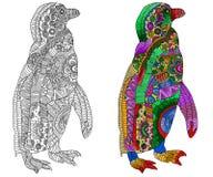 Zentangle gestileerde kleur en zwarte pinguïn Stock Afbeelding