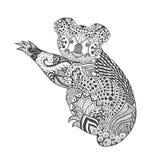 Zentangle gestileerde koala Stock Foto