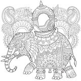 Zentangle gestileerde Olifant Stock Afbeelding