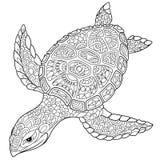 Zentangle gestileerde schildpad royalty-vrije illustratie