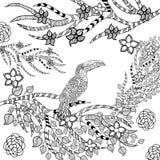 Zentangle gestileerde toekan in bloemtuin Royalty-vrije Stock Afbeelding