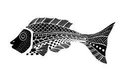 Zentangle gestileerde Vissen Royalty-vrije Stock Afbeeldingen
