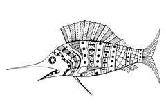 Zentangle gestileerde Vissen Stock Afbeelding