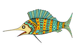 Zentangle gestileerde Vissen Royalty-vrije Stock Foto's