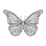Zentangle gestileerde vlinder Stock Afbeeldingen