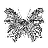 Zentangle gestileerde vlinder Stock Afbeelding