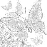 Zentangle gestileerde vlinders Stock Afbeelding