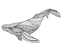 Zentangle gestileerde walvis Stock Afbeeldingen