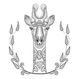 Zentangle Giraffe head totem in frame for adult anti stress. Coloring Page for art therapy, illustration in doodle style. Vector monochrome sketch with high Royalty Free Stock Image