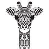 Zentangle-Giraffe an mit Hintergrund Lizenzfreie Stockfotos