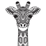 Zentangle giraffe  on withe background. Royalty Free Stock Photos