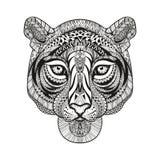 Zentangle ha stilizzato il fronte della tigre Vettore disegnato a mano di scarabocchio Fotografia Stock