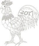 Zentangle ha stilizzato il gallo, 2017, disegnato a mano in bianco e nero Immagine Stock Libera da Diritti