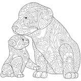 Zentangle ha stilizzato il gatto ed il cane Immagini Stock Libere da Diritti