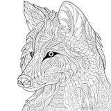 Zentangle ha stilizzato il lupo Fotografie Stock Libere da Diritti
