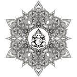 Zentangle ha stilizzato intorno alla mandala indiana con l'elefante indù Dio royalty illustrazione gratis