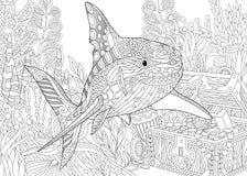 Zentangle ha stilizzato l'acquario Immagini Stock Libere da Diritti