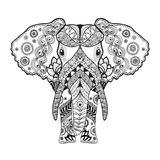 Zentangle ha stilizzato l'elefante Immagine Stock