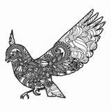 Zentangle ha stilizzato l'illustrazione dell'uccello Illustrazione disegnata a mano di scarabocchio isolata su fondo bianco Fotografie Stock