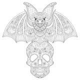 Zentangle ha stilizzato la disposizione dei posti a sedere del pipistrello sul cranio dello zucchero per Halloween Fre Immagine Stock Libera da Diritti