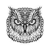 Zentangle ha stilizzato la testa del gufo reale Schizzo tribale per il tatuaggio o la maglietta immagini stock libere da diritti