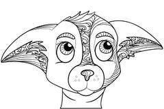 Zentangle ha stilizzato lo scarabocchio decorato della testa di cane della chihuahua Immagini Stock Libere da Diritti
