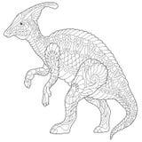 Zentangle hadrosaur dinosaur Stock Photo